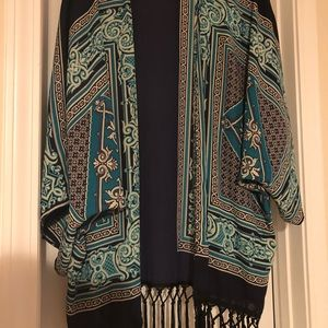 Francesca's Collections One Size Teal Kimono